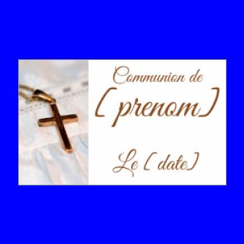 etiquette cadeau communion marron blanc croix