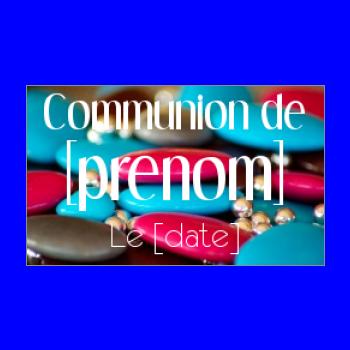 etiquette cadeau communion bonbon bleu rouge