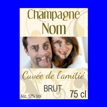 etiquette bouteille fleur champagne jaune marron alcool