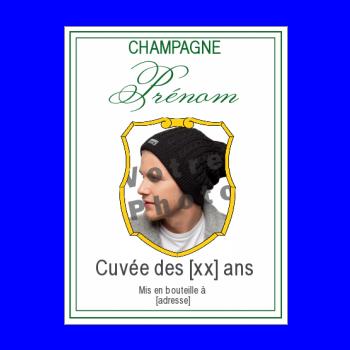etiquette anniversaire bouteille champagne vert blanc blason