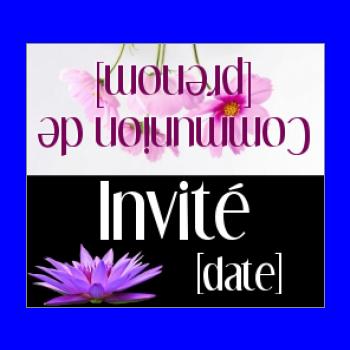 etiquette fleur table communion mauve noir