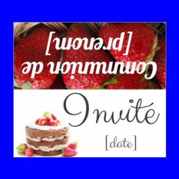 etiquette table communion fruit gateau chocolat fraise
