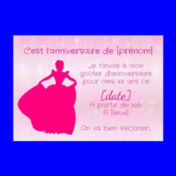 carte invitation anniversaire princesse enfant fille