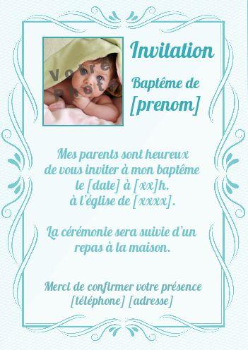 Faire Part Bapteme Garcon Bleu Elegant Avec Photo A Imprimer Carte 2888