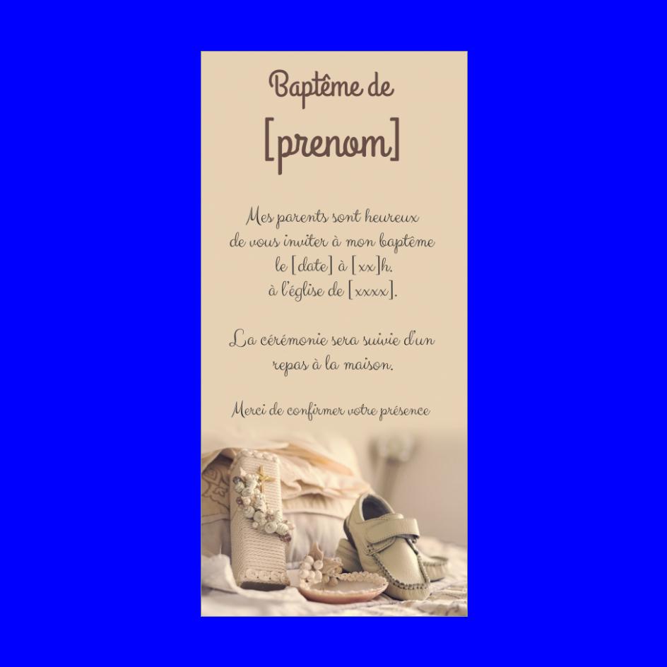 Faire Part Bapteme Garcon Marron Chaussure Gratuit A Imprimer Carte 879