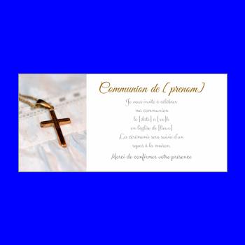 faire part communion blanc croix