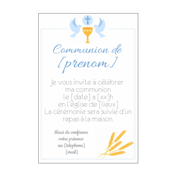 Exemple texte faire part communion original