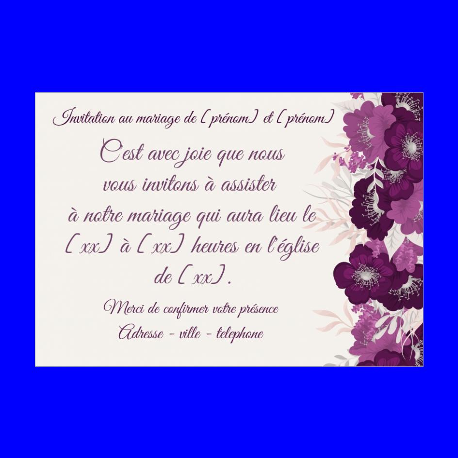 Invitation Faire Part Mariage Fleur Mauve Gratuit A Imprimer Carte 2709