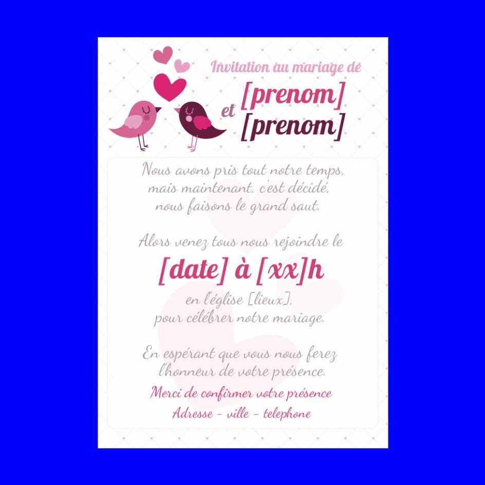 Invitation Faire Part Mariage Coeur Oiseau Gratuit A Imprimer Carte 2863