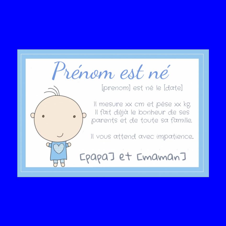 Faire Part Naissance Bebe Garcon Bleu Gratuit A Imprimer Carte 737