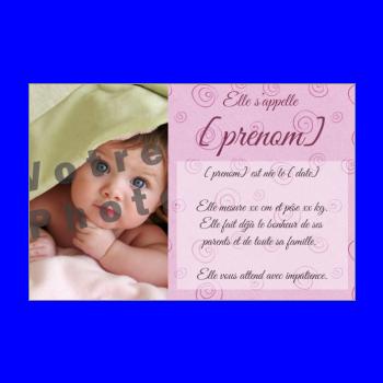 faire part naissance bebe rose fille
