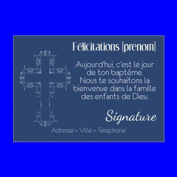 carte felicitation bapteme garcon bleu croix