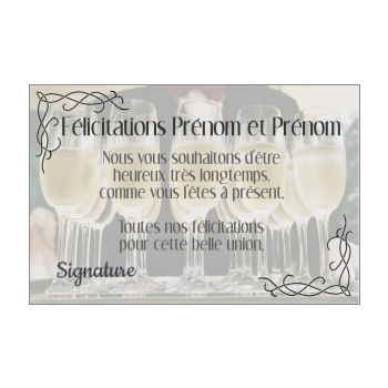 carte felicitation mariage champagne