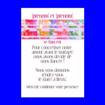 carte invitation faire part champagne fiancailles mauve alcool