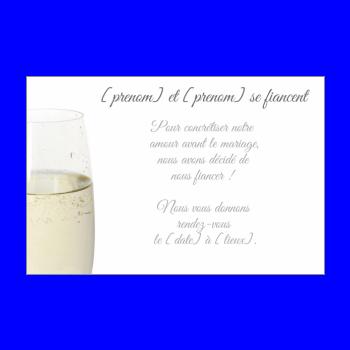 carte invitation faire part champagne fiancailles blanc alcool
