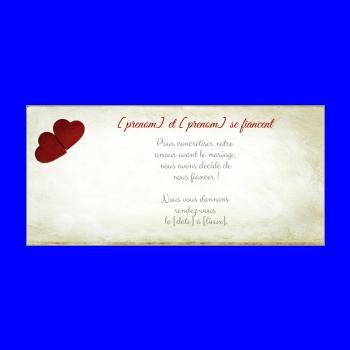 carte invitation faire part fiancailles coeur lettre jaune rouge