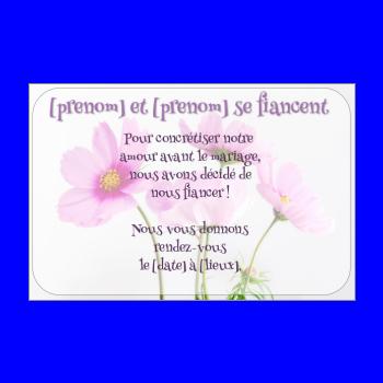 carte invitation faire part fleur fiancailles rose