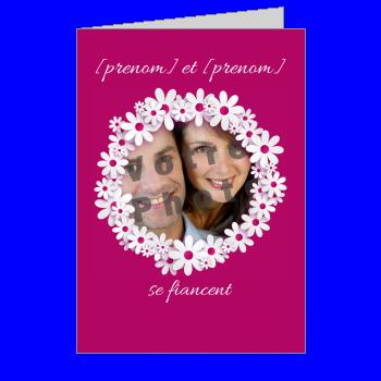 carte invitation faire part fleur fiancailles rose mauve