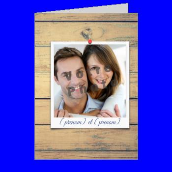 carte invitation fiancailles bois marron