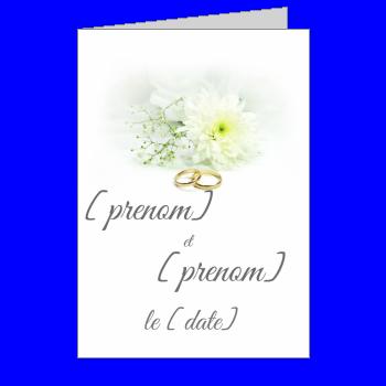 carte invitation faire part mariage fleur anneau blanc elegant