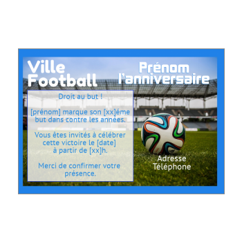 carte invitation anniversaire magazine football sport ballon