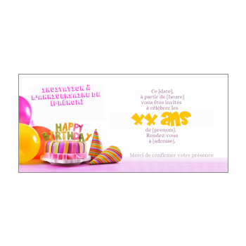 carte invitation anniversaire gateau bougie rose