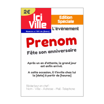 carte invitation anniversaire magazine journal blanc