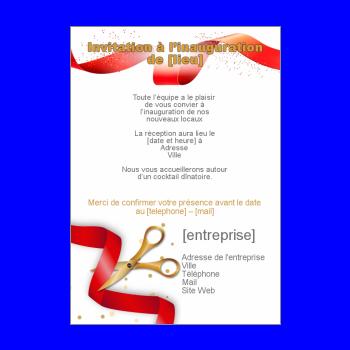 Inauguration Invitation Commerce Rouge Ruban Local à