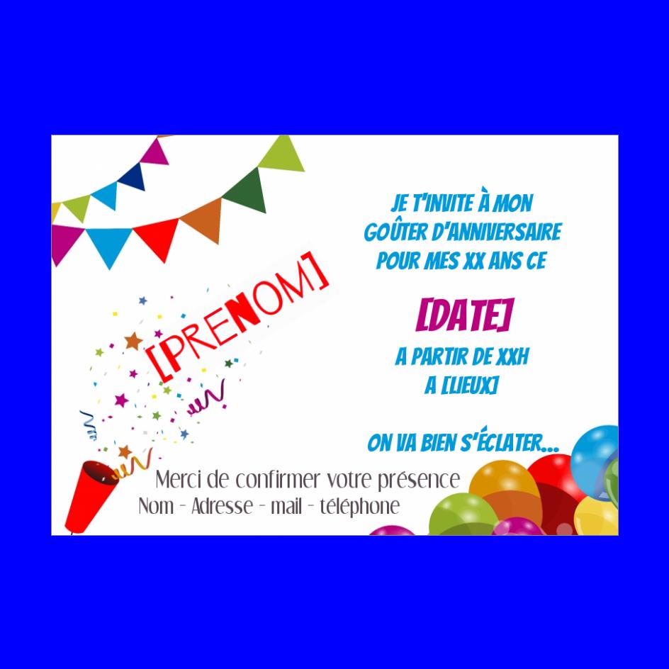 Carte Invitation Anniversaire Enfant Ballon Dessin gratuit à imprimer (carte 2680)