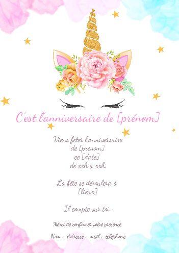 Invitation Anniversaire Licorne A Imprimer