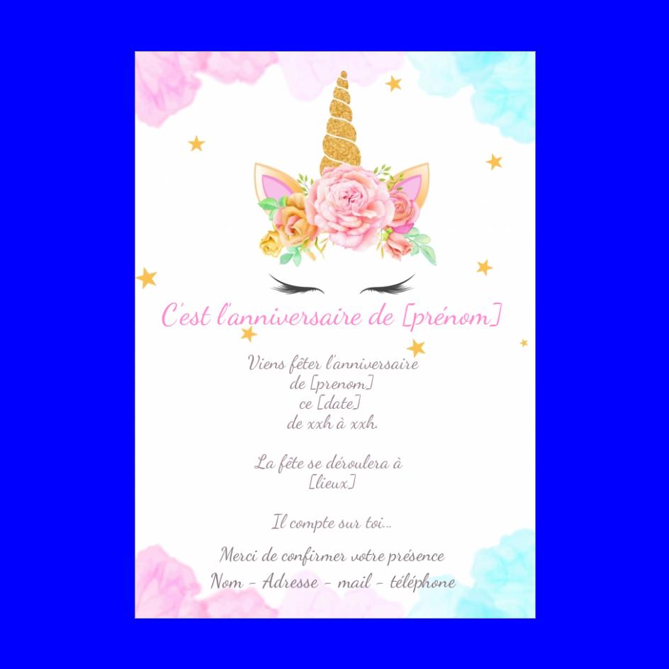 Super Carte Invitation Anniversaire Licorne Enfant Rose gratuit à KH-08