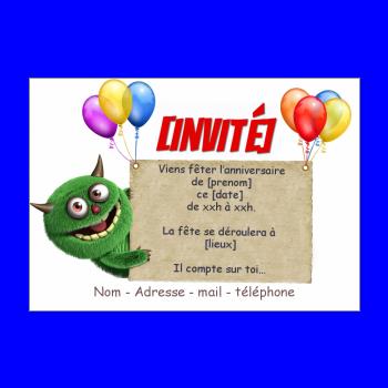 carte invitation anniversaire enfant ballon vert