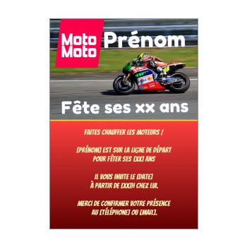 carte invitation anniversaire magazine rouge moto