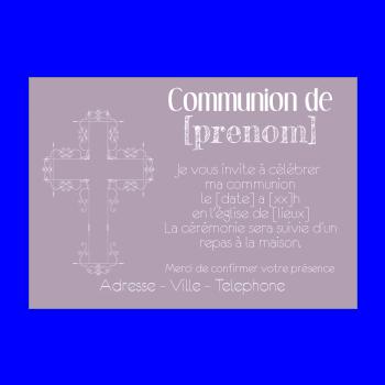 Faire Part Communion Fille Mauve Croix A Imprimer Carte 1968