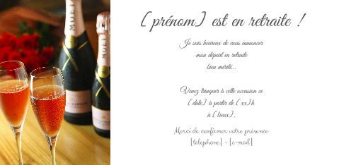 Carte Invitation Retraite Champagne Fete Rose Gratuit A Imprimer Carte 2284