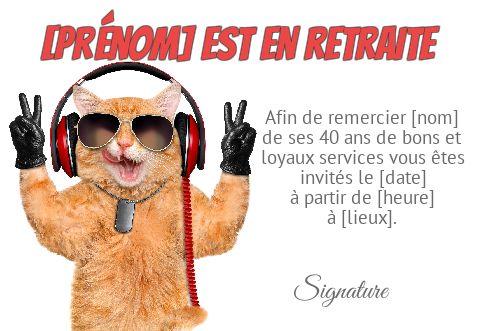 Carte Invitation Retraite Humour Chat Blanc Gratuit à