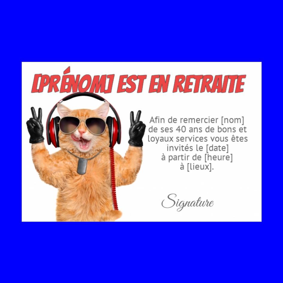 Carte Invitation Retraite Humour Chat Blanc Gratuit A Imprimer Carte 1064