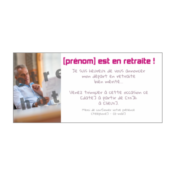 carte invitation retraite fete blanc