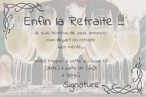 carte invitation retraite gratuite Carte Invitation Retraite Champagne Fete Jaune gratuit à imprimer