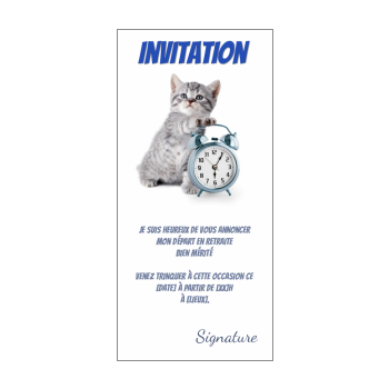 carte invitation retraite fete chat humour