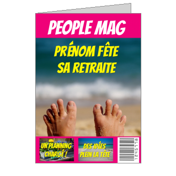 carte invitation retraite magazine journal fete humour plage pied mer