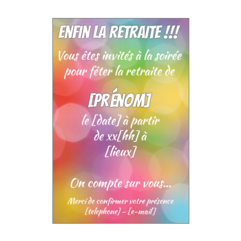 carte invitation retraite fete jaune rouge