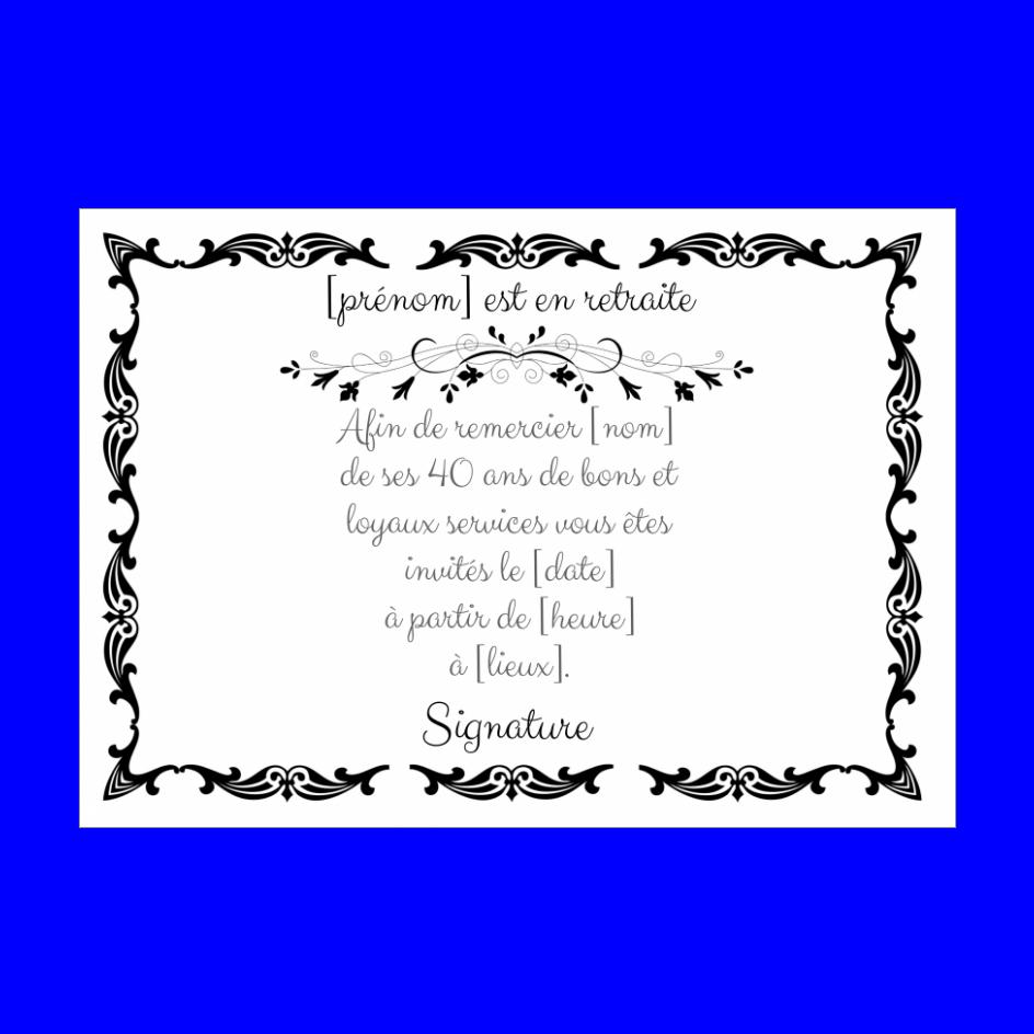 Carte Invitation Retraite Noir Blanc Gratuit A Imprimer Carte 1066