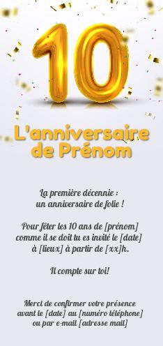 Invitation Anniversaire 10 Ans Doree Ballon Gratuit A Imprimer Carte 3449