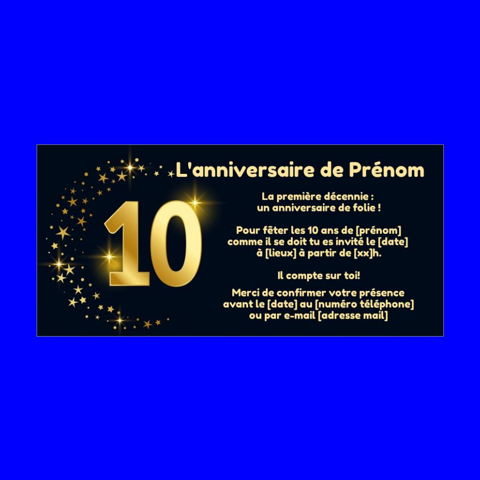 Incroyable Invitation Anniversaire 10 Ans Doree Etoile gratuit à imprimer BC-57