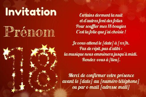 Invitation Anniversaire 18 Ans Doree Rouge Gratuit A Imprimer Carte 3480