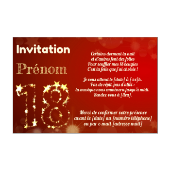 Étonnant Invitation d'anniversaire 18 ans gratuit à imprimer ou à envoyer WW-74