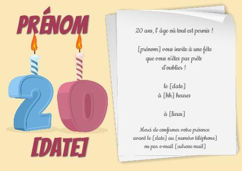 Invitation Anniversaire 20 Ans Bougie Dessin gratuit à imprimer (carte 3464)