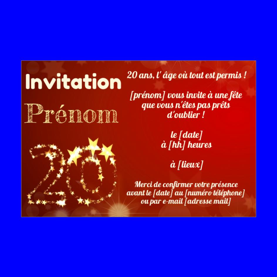 Invitation Anniversaire 20 Ans Jaune Rouge Gratuit A Imprimer Carte 3424