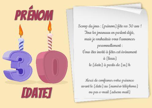 Incroyable Invitation Anniversaire 30 Ans Bougie Dessin gratuit à imprimer GB-21